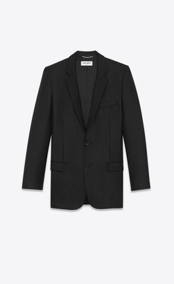 Saint Laurent Blazer Jacket Cardigan Jacket In Sable With Crystal-embroidered Braid Black 34