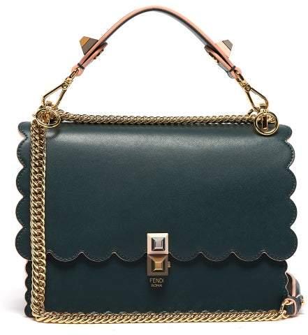 Fendi Kan I Leather Cross Body Bag - Womens - Dark Green