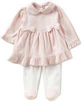 Edgehill Collection Baby Girls Newborn-6 Months Bow Pleated Dress, Footed Pants, & Headband Set