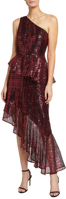 ONE33 SOCIAL Sequin One-Shoulder Asymmetrical Cocktail Dress