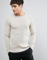 Selected 100 % Cotton Crew Neck Knitted Cable Sweater