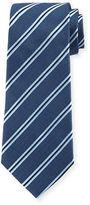 Armani Collezioni Woven Diagonal-Stripe Silk Tie, Gray