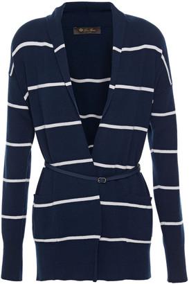 Loro Piana Bretagne Belted Striped Cashmere Cardigan