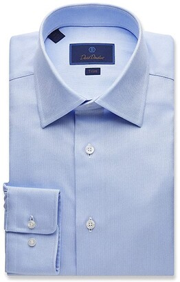 David Donahue Trim Fit Royal Oxford Dress Shirt (White) Men's Clothing