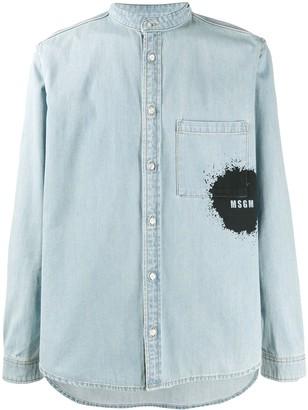MSGM Band-Collar Splatter-Detail Denim Shirt