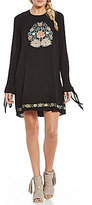 Band of Gypsies Floral Embroidered Tie Sleeve Shift Dress