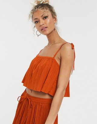 ASOS DESIGN square neck cami in crinkle fabric co-ord