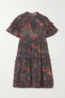 Ulla Johnson Delia Ruffled Floral-print Cotton-blend Mini Dress - Midnight blue