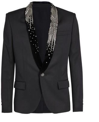 Balmain Embroidered Shawl-Collar Jacket