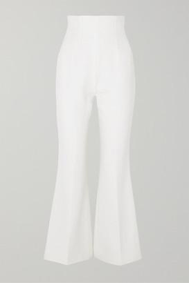 Emilia Wickstead Sammy Cropped Wool-crepe Flared Pants - Ivory