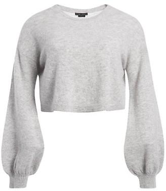 Alice + Olivia Ansley Puff-Sleeve Crop Sweater