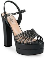 Valentino Love Latch Grommeted Leather Platform Sandals