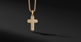 David Yurman Deco Cross Pendant In 18K Yellow Gold With Pave Diamonds