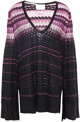 Camilla Crystal-embellished Crochet-knit Cotton-blend Sweater
