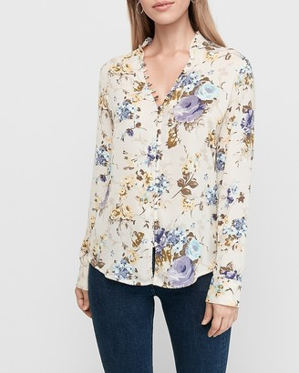 Express Slim Floral Ruffle Collar Portofino Shirt