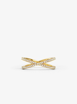 Michael Kors Precious Metal-Plated Sterling Silver Pave Nesting Ring