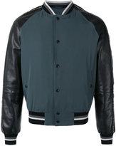 Lanvin piped sleeve bomber jacket - men - Cotton/Leather/Viscose/Metallic Fibre - 48