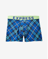 Express blue and green plaid boxer brief