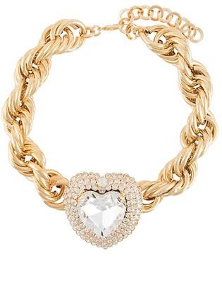 Alessandra Rich Crystal Heart Choker