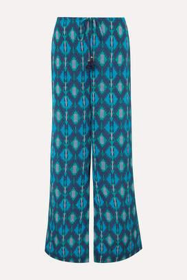Figue Saanchi Printed Crepe De Chine Wide-leg Pants - Turquoise