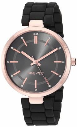Nine West Women's NW/2302RGBK Crystal Accented Rose Gold-Tone and Black Rubberized Bracelet Watch