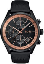 BOSS Men's Chronograph Grand Prix Black Perforated Leather Strap Watch 44mm