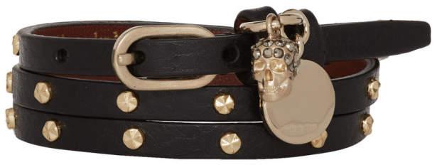 Alexander McQueen Black and Gold Studded Multi Wrap Bracelet