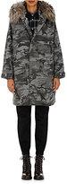Vis A Vis Women's Camouflage-Print Fur-Trimmed Melton Coat