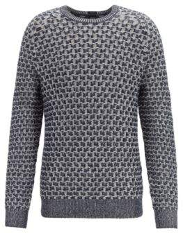 BOSS Cotton-blend sweater with two-tone plaited cabling