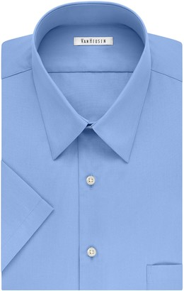 Van Heusen Men's FIT Short Sleeve Dress Shirts Poplin Solid (Big and Tall)