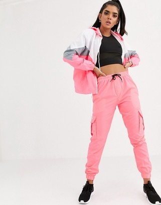 Qed London elasticated cuff cargo trousers in hot pink co