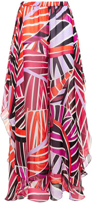 Emilio Pucci Gathered Printed Silk-chiffon Wide-leg Pants