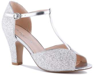 Paradox London Quincy Silver High Heel T-Bar Peep Toe Shoes