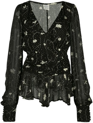 Baum und Pferdgarten Dotty String Leaf-print chiffon blouse