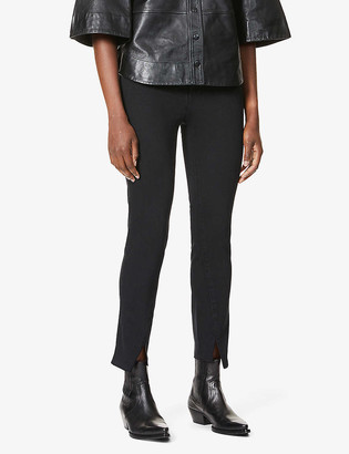 Paige Ladies Black Cotton Embroidered Hoxton Ultra-Skinny High-Rise Jeans, Size: 24