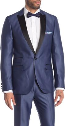 Paisley & Gray Grosvenor Blue Solid One Button Peak Lapel Tuxedo Jacket