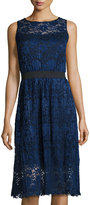 Label by 5Twelve Sleeveless Lace Fit-and-Flare Midi Dress, Navy