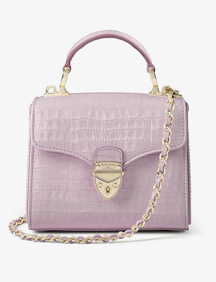 Aspinal of London Mayfair Mini crocodile-embossed leather shoulder bag