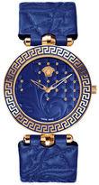 Versace Vanitas Analog Blue Leather Strap Watch