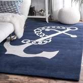 Breakwater Bay Islington Hand-Woven Wool Navy/White Area Rug Rug
