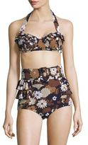 Michael Kors Outline Floral Two-Piece Ruffled Bikini
