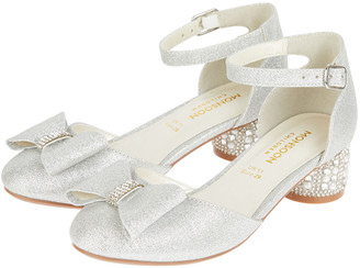 Monsoon Carly Sparkle Bow Shoes Silver