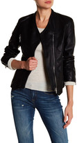 BLANKNYC Denim Faux Leather Collarless Moto Jacket