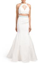 Two-Piece Halter Neck Full Skirt Gown