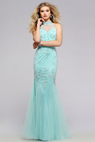 Faviana s7732 Beaded High Halter Neck Trumpet Gown