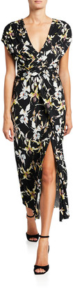 Jason Wu Collection Wild Orchid Ruched Jersey Midi Dress
