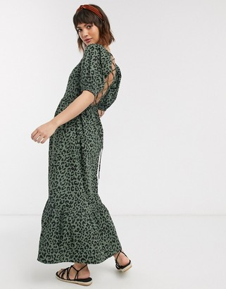ASOS DESIGN tiered maxi dress with puff sleeves and open back in leopard print