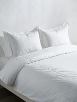 Melange Home Cotton Percale Wavy Stripe Embroidered Duvet Set