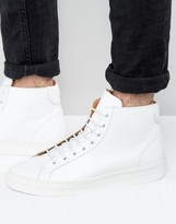 Frank Wright Logan Hi Top Trainers In White