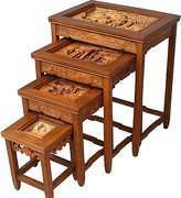 One Kings Lane Vintage Carved Asian Nesting Tables - Set of 4 - Something Vintage - brown/multi